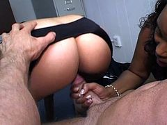 Ebony sluts sharing hard cock in the office. They walk in to audition and what they found is a naked man on the camera. They strip off everything too and start giving him hard service.