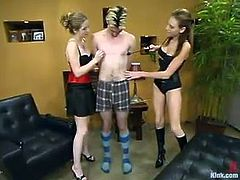 Audrey Leigh and her salacious GF are torturing Rusty Rockspring indoors. They beat and humiliate him in many ways and then drill his butt deep and hard with a strapon.