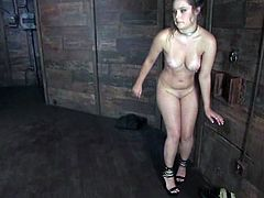 Charlotte Vale allows a man called Sgt. Major tie her up in a basement. The dude fondles the brunette and then smashes her pussy with a dildo.