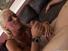 Sextractive blonde babe Diana Doll gives awesome blowjob