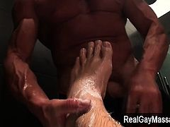 Amateur straightys feet touch cock