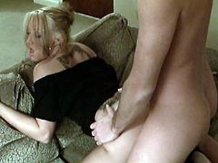 Amazingly hot blonde girl gives hot blowjob and sits on guy's face to let him lick her vagina. Later on she gets her vagina fucked deep and hard.