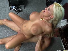 Provocative porn model with big boobs is screwed missionary style. Later on she turns around taking doggy fuck position. She gets hammered deep in her throbbing wet cunt from behind.