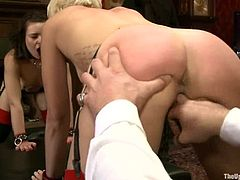 Dylan Ryan and Juliette March let some guys tie them up and torture them. Then the men force the sluts eat each other's vags and humiliate them in many ways.