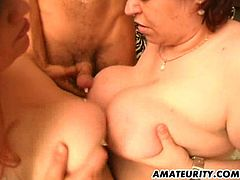 Two fat ladies with huge boobs suck a dick and lick balls. Then they give a titjob and get fucked in hot threesome video.