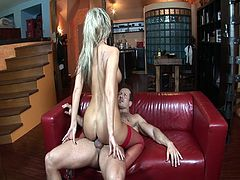 Phenomenal huge tits milf Daria Glower gets fucked on the couch. Her sexy lingerie gets stripped slowly before the camera. Soon her pussy gets licked and fucked hard.