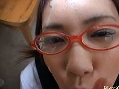 A Japanese girl in glasses called Hinna Ohtsuka is going to give a blowjob in this POV video where she gets cum on her face and glasses.