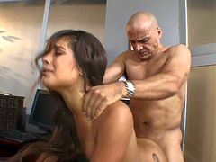 Slutty sexy tee Jynx Maze with arousing heavy make up and cheep provocative tattoo gets on knees and gives head to Ben English. In return he pounds her pussy to orgasm.