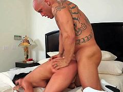 Tanned Derrick Pierce with muscled body and big tattoo brings black haired young big ass slut Madelyn Monroe to hotel room and bangs her from behind to screaming orgasm.
