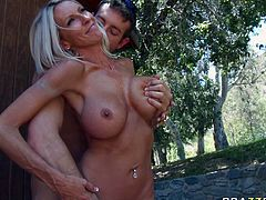 Passionate blonde mommy Emma Star has got big boobs, slim waist and round ass. She sucks juicy cock deepthroat before riding the stem on top.