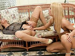 Klarisa Leone and Nikky Thorne enjoy another lesbian sex session for the camera