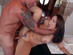 Tanned wild Dale Dabone with big arm tattoo and perfectly shaped muscled body gives sucked by attractive Chanel Preston with big firm tits and bangs her to intensive orgasm.