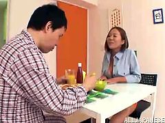 Gorgeous Japanese chick Ruri Saijoh strips and shows her awesome huge natural boobs to her man. Then she sucks his wang devotedly and drives the guy crazy with a titjob.