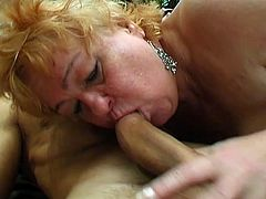 This horny granny is ready to get her pussy stuffed with young stiff cock. After giving him an amazing blowjob she begge him to fuck her old fat cunt like crazy.