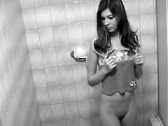 Young Aliska gets filmed in secret while getting nude and ready to shower