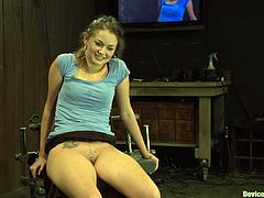 Allie Haze lets some man put her into chains in a basement. Then the man pleases Allie with fingering and fucks her juicy pink slit with a dildo.