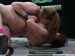 Dana Dearmond and Jade Marxxx struggle on tatami and touch each other's nice tits. Then they make lesbian love and seem to enjoy it much.