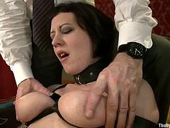 Kinky bitches in stockings get tied up. Later on they get their pussies clothespinned and fucked with strap on.
