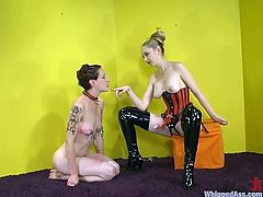 Amazing blonde hottie Chanta-Rose is having fun with slim brunette Nina indoors. Rose spanks Nina's butt furiously and then smashes her coochie with a strapon.