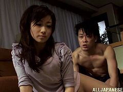 Hot Japanese chick Yuu Kawakami and her man are having fun in the kitchen. The dude plays with Yuu's snatch and then pounds it deep from behind.