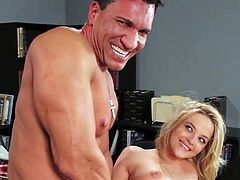 Cute young blonde Alexis Texas with pretty smile and delicious round bums gets seduced by tanned Marco Banderas and fucks with him in the office until he sprays her with cum.