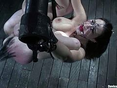 Natalie Minx is today's sex slave. She gets tied up and then he hooks up her nose to make her stay still. One move and her nose is off her face.