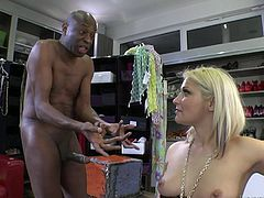 Slutty blondie sits on guy's face getting her vagina licked. Then she sucks big black cock excitedly and gets fucked rough in a fitting room.