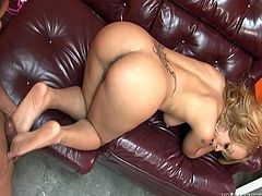 Insatiable milf Melrose Foxxx shows her ass and tits to Frankie Chingon and allows him to rub his wang against her butt cheeks and nice feet.