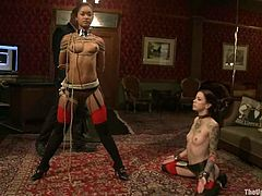 Two slim girls sit on the floor being tied up. Some guy fixes clothespins to their pussies and boobs. Later on these chicks get toyed with vibrators.