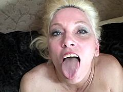 This mature blonde's packing a pair of big round tits and a great need for cock. Watch her sucking on three large dicks until her mouth's filled by cum.