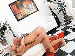 Lolli Moon fucks the sperm out of Omar Galantis tool with the help of her bottom after deep blowjob