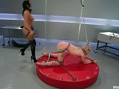 Amazing blonde babe in latex gets tied up and tortured with different bondage devices by nasty Sandra. Then Sarah gets her pink pussy gaped with claws and toyed deep.