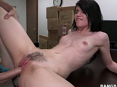This petite brunette whore loves to fuck. Horny stud pummels her twat in missionary position. Then she pleases him with a blowjob.