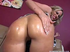 This gorgeous mature blonde just lost her job and really wanted to use her ASSets to help pay off her mortgage.  So she showed me her curves and her massive erect nipples, and I was convinced that Kylie was more than worthy of a hard fucking.  If you like your butts round and soft, you'll love this supple bum.  No matter how much juice we applied, her ass absorbed it like a paper towel!  This horny lady's in her prime and sucks and fucks like only a real woman knows how.  Watch her get splattered!