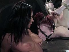 Claire Adams is that petite redhead sex slave, who gets taken over by a gorgeous and smoking hot brunette babe Sandra Romain.