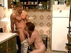 Hardcore sex in the kitchen with a granny! He eats her old pussy and she pays him back with a wild blowjob! Damn, they are just crazy!