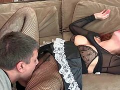 Submissive young looking redhead housemaid Brooklyn Lee with round bouncing ass in ripped fishnet pantyhose and awesome uniform gives head to Michael Stefano and rides on his meaty cock.