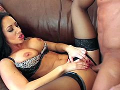 One and only black haired milf Jayden Jaymes with perfect firm hooters and fit body in expensive lingerie gives head to muscled neighbor Tommy Gunn and gets pounded to loud orgasm.