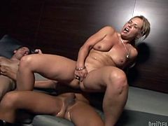 Kelly Leigh and Ariel Everitts are playing dirty games with some guy. The woman pleases the guy and the tranny with blowjobs and then allows them to fuck her juicy cunt by turns.