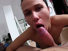 Brunette girl meets a guy in the street and then goes to his apartment. This slut gives him a blowjob and then gets her shaved pussy fucked deep.
