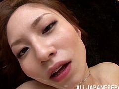 Check this hot Japanese babe called Risa Mizuki getting her pussy fucked after a blowjob. She's hot, with small waist, nicely trimmed pussy and beautiful looks.