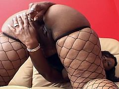 Check out this horny ebony chick showing off her tight asshole and using her favorite toys for you. She spreads her legs wide to satusfy all or her tight holes.