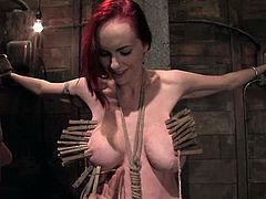 Sexy redhead chick Mz Berlin gets her tits tied around. Then some dude plays with Berlin's cute pussy and makes the slut cum.