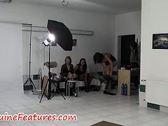 Genuine Features brings you an amazing free porn video where you can see during a sensual backstage shows some very hot babes posing and provoking with their awesome bodies.