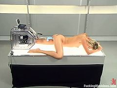 Delightful blonde Angel Long shows off her nice body and strokes her tits and cute butt. Then she spreads her legs wide and gets her holes pounded by a fucking machine.