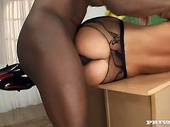 Black dude digs ass hole of seductive blonde in stockings with his meaty shaft. Enjoy watching interracial sex tube video featuring anal insane blonde slut.
