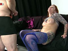 Hussy jade with big boobs is stuffed with whole fists while lying on a couch with her legs wide open. She moans and quivers with joy getting her vag stretched wide.