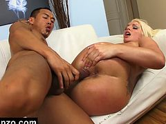 Blonde whore Sadie Swede gets hard Asian cock drilled deep inside her wet pussy slit. She enjoys getting her cunt licked by this hot oriental dude before getting poked with his tool.