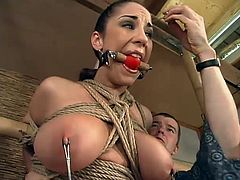 Gagged and tied up brunette with big boobs gets humiliated. The master suspends Jewell and whips her ass. Later on she also gets her wet vagina torn up by the fucking machine.