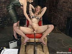 This divine sex slave Veronika is under severe abuse! She gets bondaged and then her mistress gives her some wires. No way to evade some charges in her tits and twat!